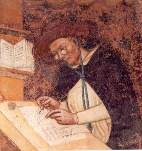 This portrait of Hugo of Provence, painted by Tommaso da Modena in 1352, is the first known depiction of eyeglasses.