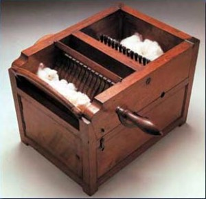 Eli Whitney created this model of his cotton gin in 1800 to use in court while defending his patent against multiple infringers.