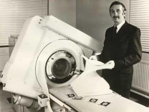 Godfrey Hounsfield with one of his early CT scanners in the 1970s.