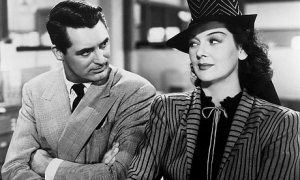 Cary Grant and Rosalind Russell in His Girl Friday (1940).