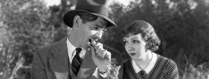 Claudette Colbert and Clark Gable in It Happened One Night (1934).