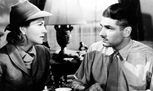 Joan Fontaine and Laurence Olivier in Hitchcock's Rebecca (1940).