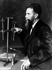 A photograph of Wilhelm Röntgen (1845-1923).
