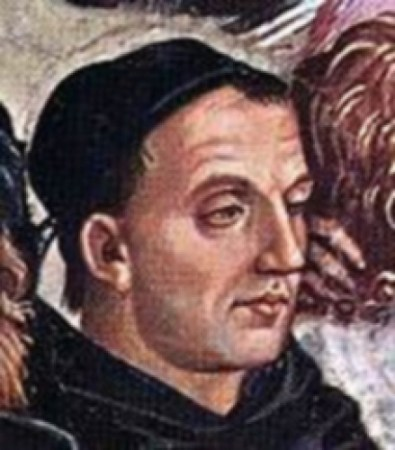 Detail of Luca Signorelli's Deeds of the Antichrist (c. 1501), from the Orvieto Cathedral, showing a portrait of Fra Angelico.