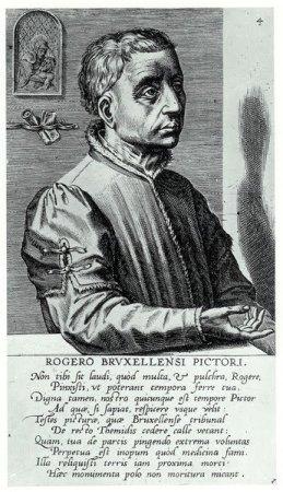 A 1572 engraved portrait of Rogier van der Weyden by Cornelis Cort.
