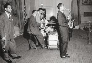 Charlie Parker and Dizzy Gillespie at the Town Hall Concert in New York, 1945.