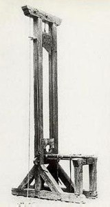 The guillotine was intended to make executions efficient and painless. This is a guillotine from the French Revolutionary era.
