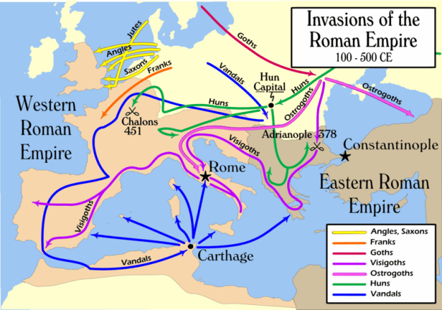 This map summarizes 400 years of outside tribes invading the Roman Empire.