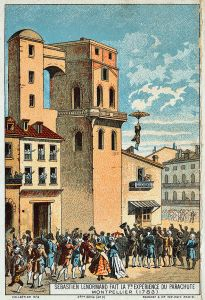 A 19th Century illustration of Lenormand's first parachute descent.