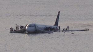US Airways flight 1549 floating in the Hudson River in New York.