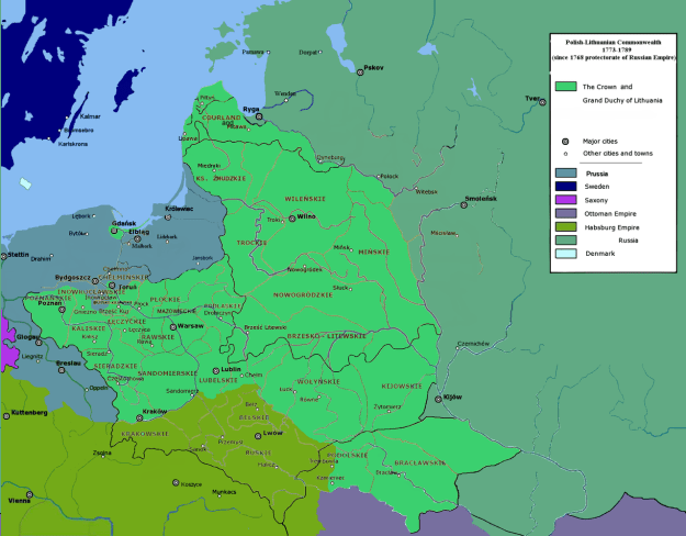 A map of the first Partition of Poland.