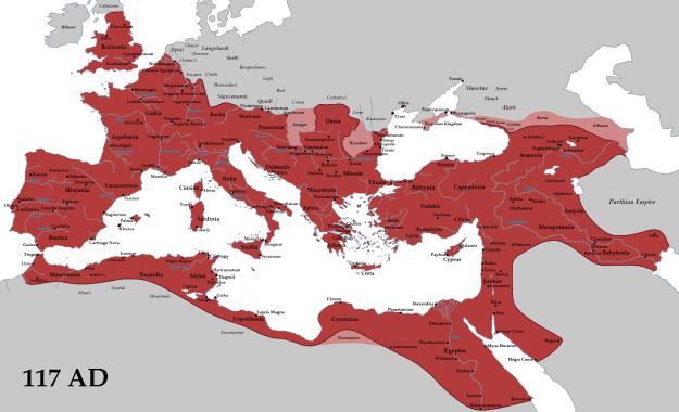 A map of the Roman Empire under Emperor Trajan.