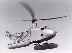 Igor Sikorsky pilots his 1939 helicopter, the VS-300.
