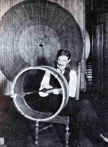 Nikola Tesla in his New York laboratory with a Tesla coil.
