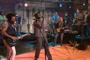 TV on the Radio performs on the Tonight Show in 2008.