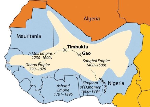 A map of Dahomey and other kingdoms of West Africa.
