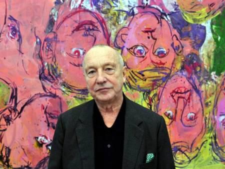 Georg Baselitz in front of his painting 'Wir besuchen den Rhine' (1996).