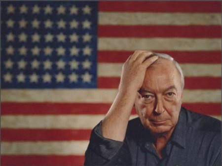 Jasper Johns with 'Flag' (1954-1955).