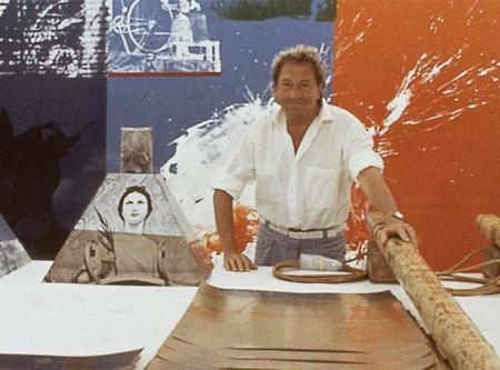 Robert Rauschenberg in his studio, in an undated photo.