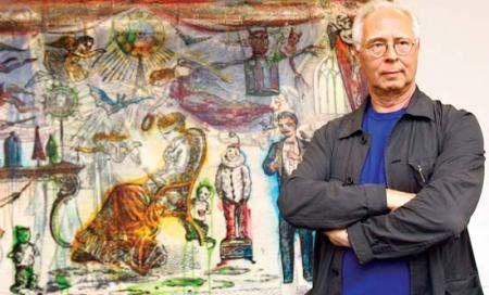 Sigmar Poke with his painting 'The Illusionist' (2007).