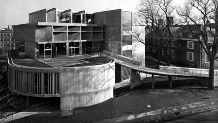 The Carpenter Center for the Visual Arts, by Le Corbusier, at Harvard University in Cambridge, Massachusetts.