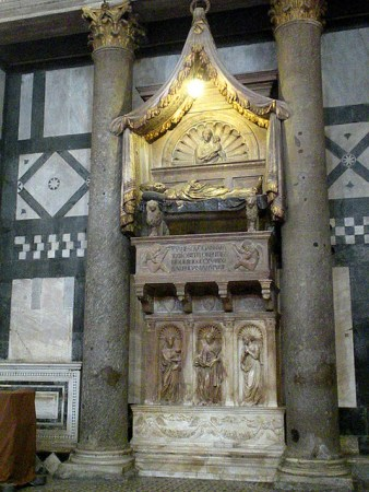 The Funerary Monument of Antipope John XXIII, by Donatello, in the Florence Baptistery, in Florence, Italy.