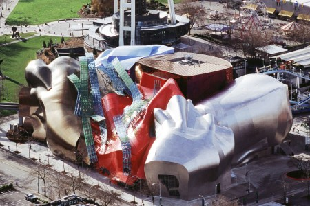 An aerial view of the Experience Music Project in Seattle, Washington, which was designed by Frank Gehry.
