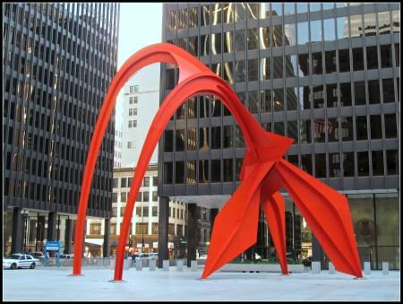 Flamingo by Alexander Calder, in Chicago's Federal Plaza.