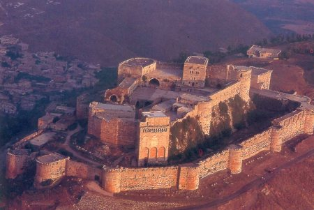 An aerial view of the Krak des Chevaliers near Homs, Syria.