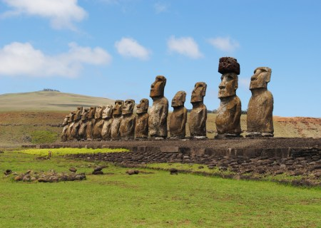 Moai statues facing inland on Rapa Nui.
