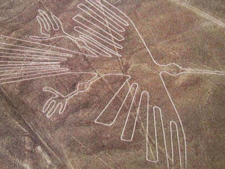 A bird figure is one of the many designs made by ancient peoples in the Nazca Desert of Peru.