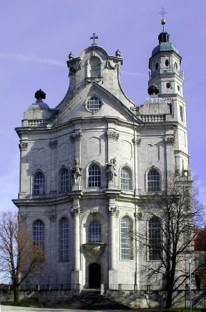 Neresheim Abbey, by Balthasar Neumann, is located in Neresheim, Germany.