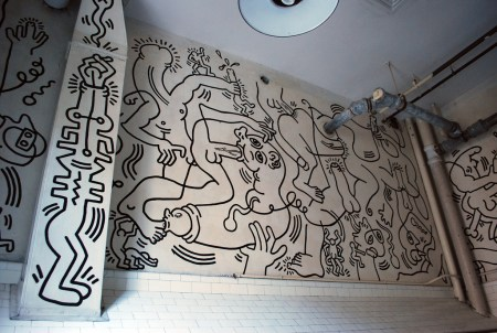 A mural by Keith Haring entitled Once Upon A Time, is located in the 2nd floor bathroom of the LGBT Center in New York City.