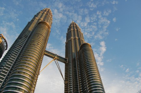 The Petronas Towers in Kuala Lumpur, Malaysia.