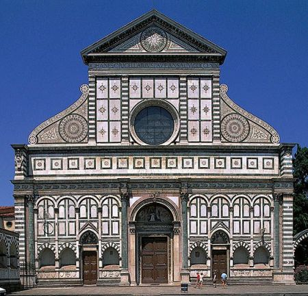 The upper facade of the Church of Santa Maria Novella, in Florence, Italy, was designed by Leon Batista Alberti.