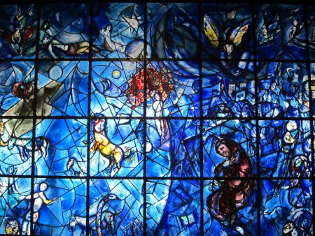 Peace, a stained glass window by Marc Chagall, at the headquarters of the United Nations in New York City.