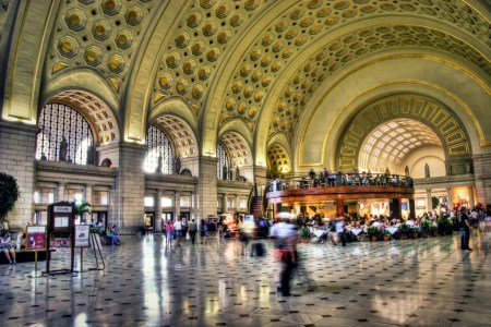 The interior of Union Station located in Washington, D.C. and designed by Daniel Hudson Burnham.