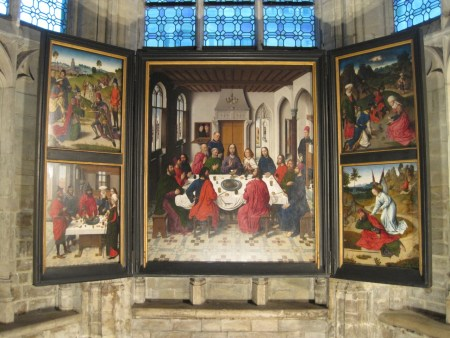 The Last Supper altarpiece by Dieric Bouts is located in St. Peter's Church in Leuven, Belgium.