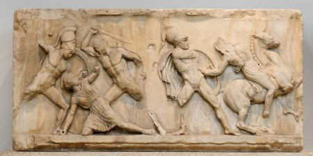 A portion of the Amazon Frieze from the Mausoleum at Helicarnassus.