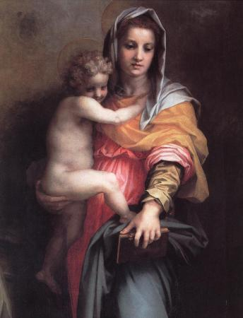 Detail from Andrea del Sarto's Madonna of the Harpies, showing the Madonna and child.