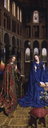 The Annunciation, by Jan van Eyck, is located in the National Gallery of Art, in Washington, D.C.