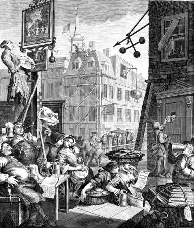In ___, William Hogarth produced two prints warning of the evils of alcohol abuse, Beer Street (shown above) and Gin Lane.