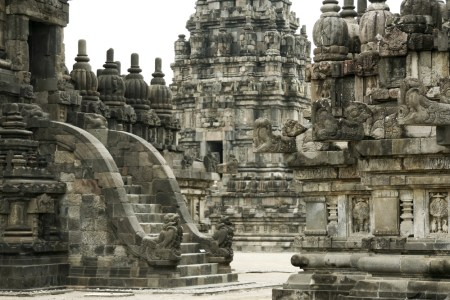 A view of Borobudur Temple showing detail of the exterior, including relief sculptures.