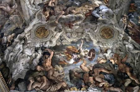 Detail from the immense fresco painted by Cortona on the ceiling of the Barberini palace. This section shows the goddess Minerva battling the Giants.