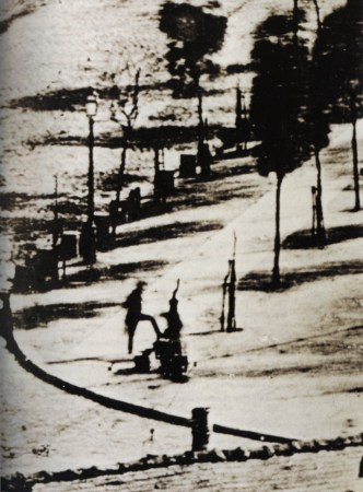 Detail from Daguerre's Boulevard du Temple, showing the first human figure captured on film.