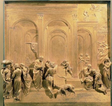 The Story of Jacob and Esau, a panel from Lorenzo Ghiberti's magnificent set of doors for the Florence Baptistery known as The Gates of Paradise.