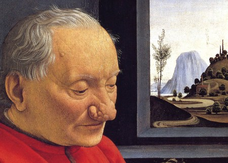 Detail of Ghirlandaio's An Old Man and His Grandson showing the landscape.