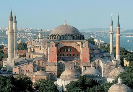 The exterior of Hagia Sophia. The minarets were added after the Muslims conquered Constantinople in 1452.