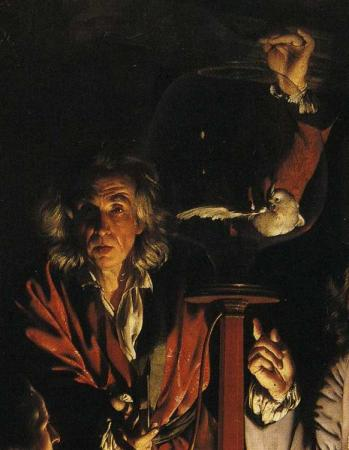 Detail from Joseph Wright of Derby's An Experiment on a Bird in the Air Pump, showing the scientist and his victim.