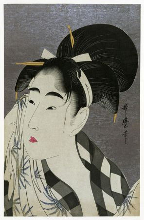 Woman Wiping Away Sweat, a ukiyo-e print by Kitigawa Utamaro.